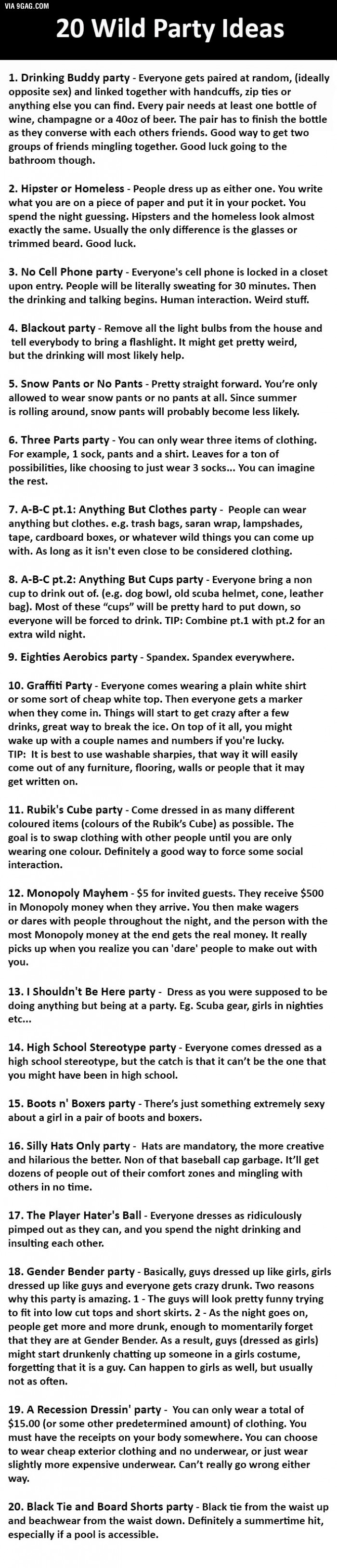 20 best ideas for a wild party