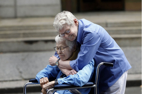 Phyllis Siegel, 76, and Connie Kopelov, 84, after becoming the first same-sex couple married in New York