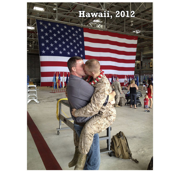 a soldier and his boyfriend reunited