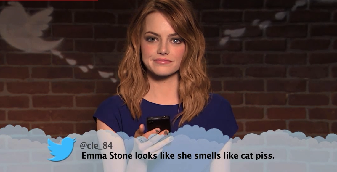 emma stone reading tweets